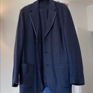 Navy blue tweed wool Faconnable Italian blazer